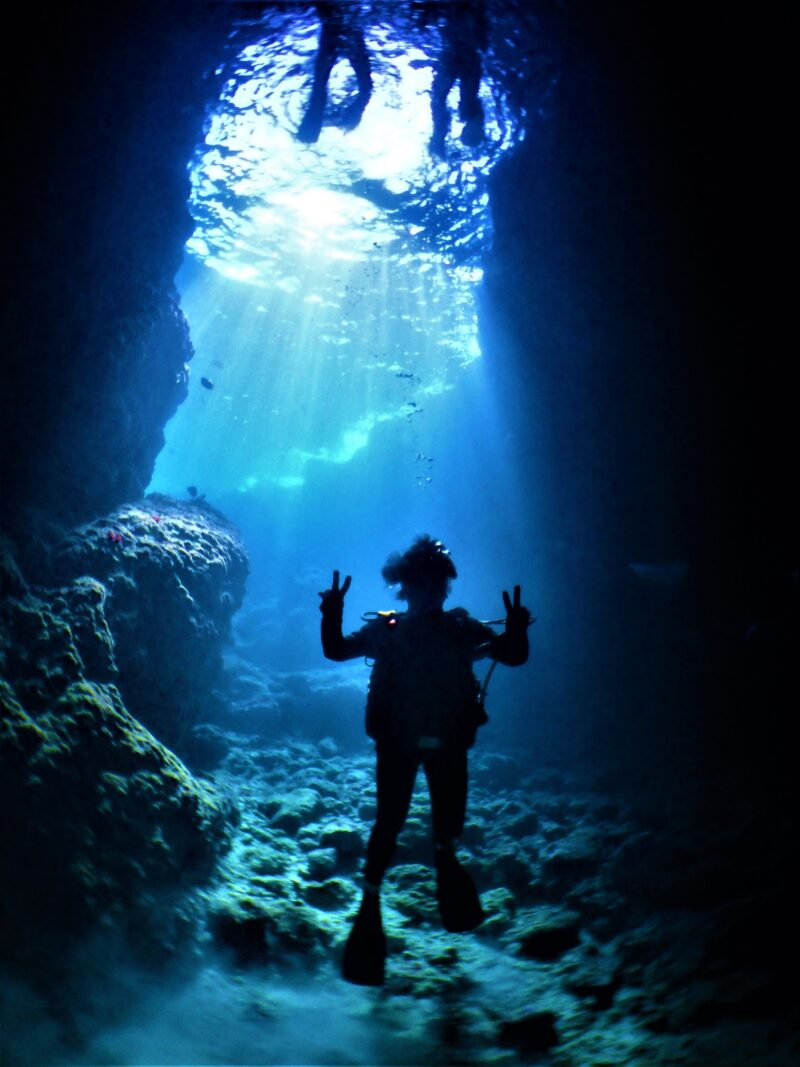 【青の洞窟】1組完全貸切!ボート体験ダイビング(熱帯魚の餌付け&お魚説明つき)(No.105)